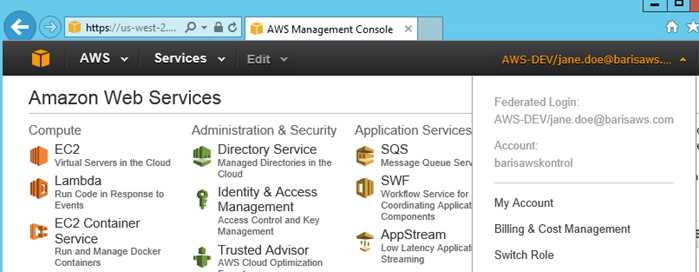 Amazon Web Service AWS Active Directory Federation Service