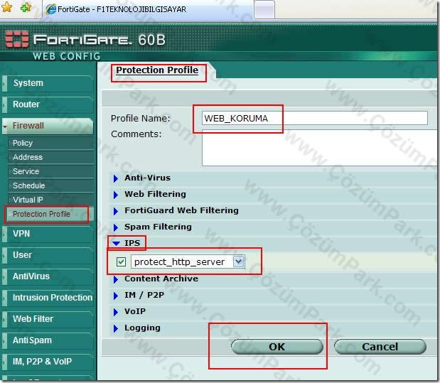 Fortigate Firewall'da IPS Imzası Nasıl Ayarlanır - ÇözümPark