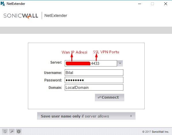 Sonicwall NetExtender - Mobile Connect için SSL–VPN Özelliğini