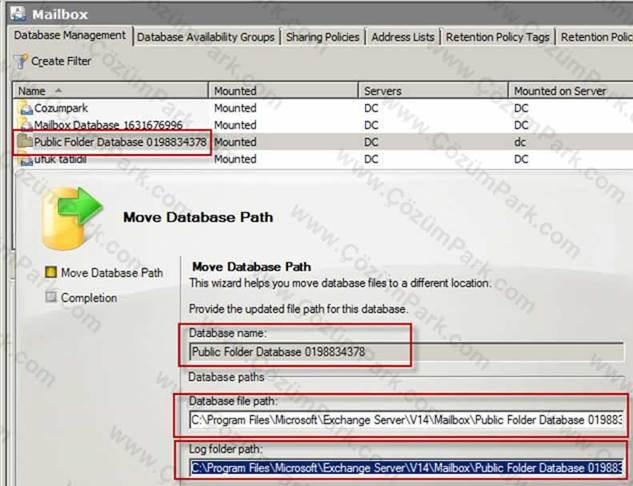Exchange 2010 sp1 uzerinde database public folder for Microsoft public documents
