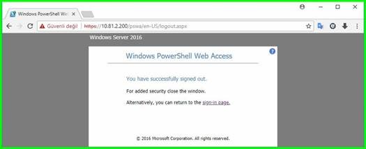Windows Server 2016 Power Shell Web Access - ÇözümPark