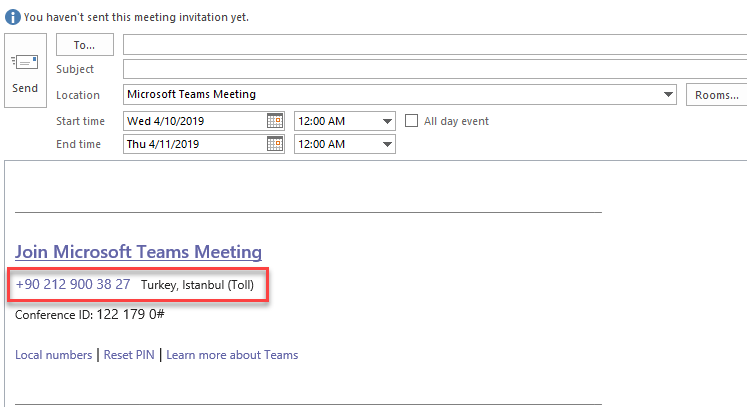 Microsoft Teams Audio Conferencing