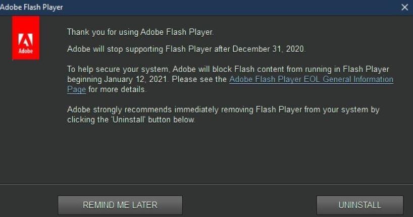 Adobe Tarafından Gelen Açılır Mesaj