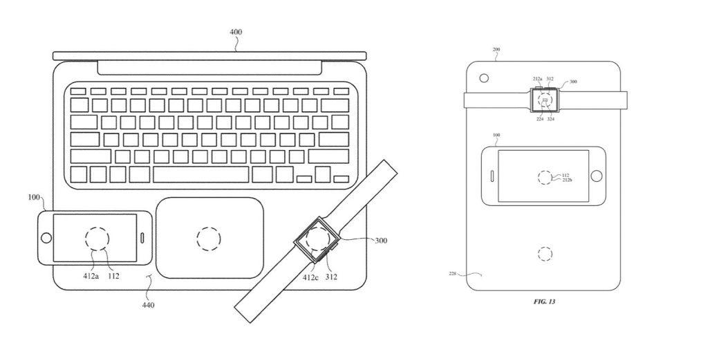 Çizimde Apple MacBook'un iPhone, iPad ve Apple Watch'u kablosuz olarak şarj ettiği gösteriliyor