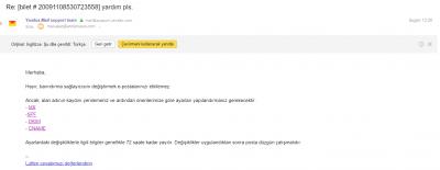 Yandex mail cevap
